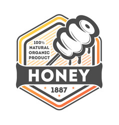 natural honey vintage isolated label vector image