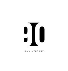 Ninety anniversary minimalistic logo ninetieth vector