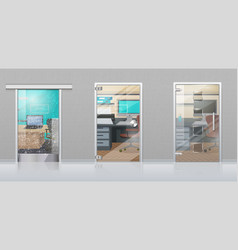 office interior through glass door flat vector image