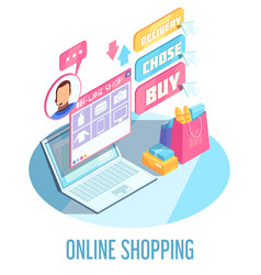 online shopping isometric composition vector image