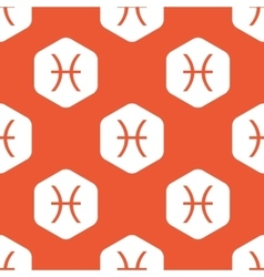 Orange hexagon Pisces pattern vector image