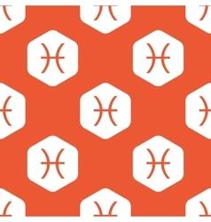 Orange hexagon pisces pattern vector