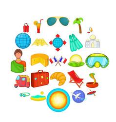 Overseas icons set cartoon style vector