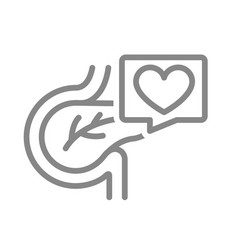 pancreas with heart in speech bubble line icon vector image