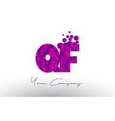 qf q f dots letter logo with purple bubbles vector image