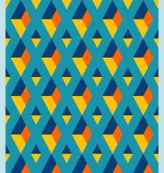retro 3d diamonds columns teal pattern vector image