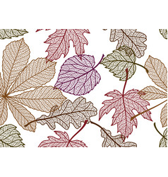 Seamless floral pattern with autumn foliage vector