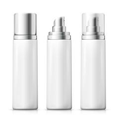 set - 3d realistic white spray bottles vector image