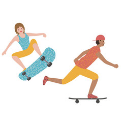 set a man and a woman skateboarding vector image