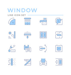 Set color line icons window vector