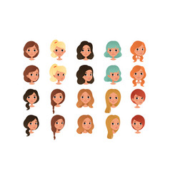 set different girl s hair styles and colors vector image