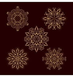 Set from five Gold Floral Mandalas vector