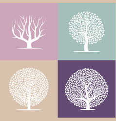 Set of four silhouettes of trees vector