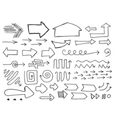set of hand drawn sketchy arrows isolated on vector image