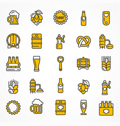 Set of linear yellow beer vector