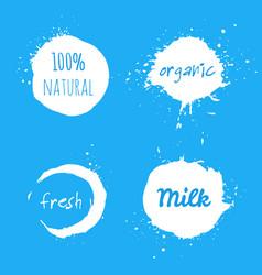 set of milk splash labels vector image