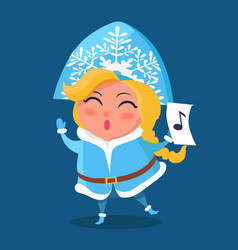 Snow maiden in warm winter cloth with music sign vector