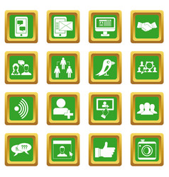 Social network icons set green vector