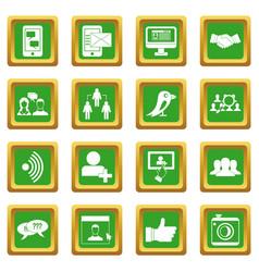Social network icons set green vector