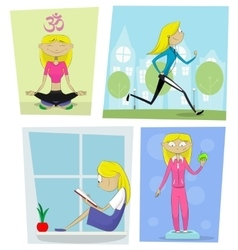 Sports diet and activities concept vector image