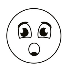 Terrified emoji face line style vector