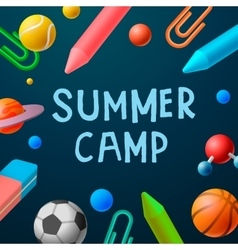 Themed Summer Camp 2016 poster sport games vector