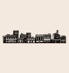 Town landscape vintage concept vector