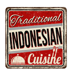 Traditional indonesian cuisine vintage rusty vector