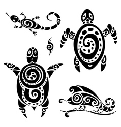 Turtle Tribal tattoo set vector image