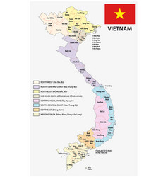 vietnam administrative and political map with flag vector image