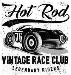 Vintage race car for printing old school race vector