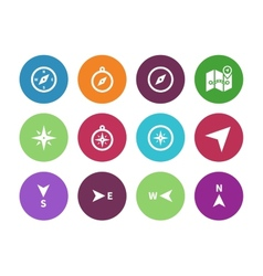 Compass circle icons on white background vector image