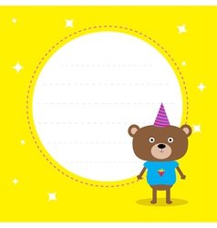 Frame with cute cartoon bear with hat Birthday vector image