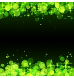 Green shining bokeh frame abstract background vector image