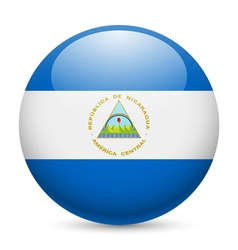 Round glossy icon of nicaragua vector