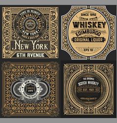Vintage cards set western style vector