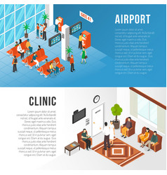 waiting area banners set vector image vector image