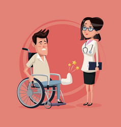 color background with handicapped man in vector image