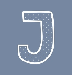 J alphabet letter with white polka dots on blue vector image