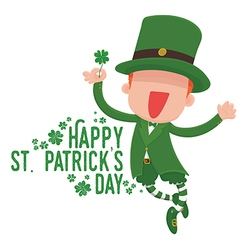 Leprechaun Holding a Four-Leaf Clover Card vector image