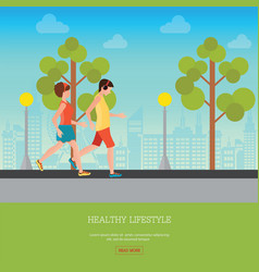 man and woman jogging together vector image