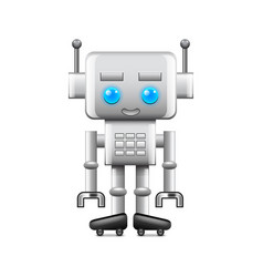 robot with large square head isolated on white vector image vector image