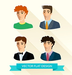 Set of flat design mens portraits vector image