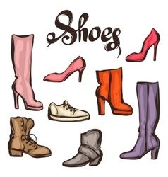 Set of various shoes Hand drawn vector image