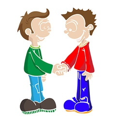 two boys shaking hands vector image