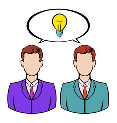 Two businessmen and lightbulb icon icon cartoon vector