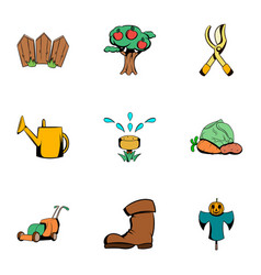ground work icons set cartoon style vector image