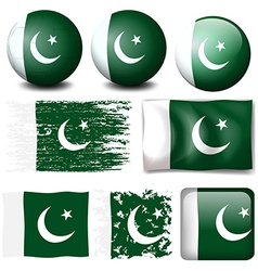 Pakistan flag on different objects vector image