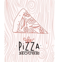 Poster slice pizza wood vector image