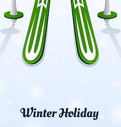 Skiing and ski poles on ice vector image vector image